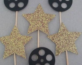 Film Reel Hollywood Movie Star Cupcake Toppers(12)