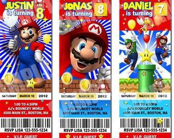SUPER MARIO birthday invitation, mario ticket invite - printable file, personalized for Super Mario bros birthday party