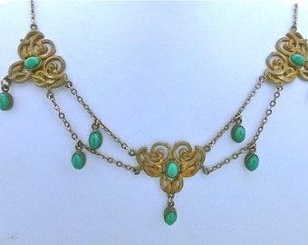 Art Nouveau Peking Glass Swag Necklace
