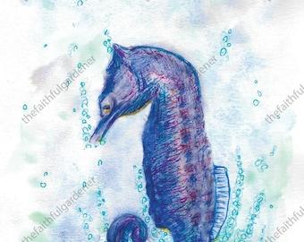Seahorse Watercolor Original Painting