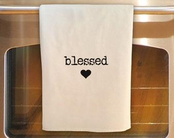 Flour Sack Tea Towel - BLESSED:  Kitchen Towel