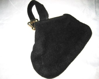 Black wool wristlet, tiny black fabric purse, formal evening bag, 50s mid century, bags and purses, gift for her, 1442