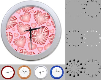 Radiating Heart Wall Clock, Abstract Love Design, Valentine Day, Customizable Clock, Round Wall Clock, Your Choice Clock Face or Clock Dial
