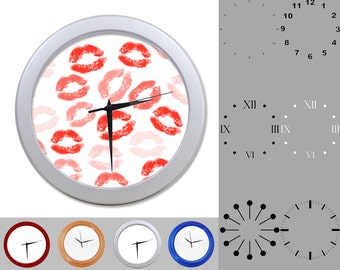 Lipstick Kiss Wall Clock, Graphic Love Design, Fun Kissy Lips, Customizable Clock, Round Wall Clock, Your Choice Clock Face or Clock Dial