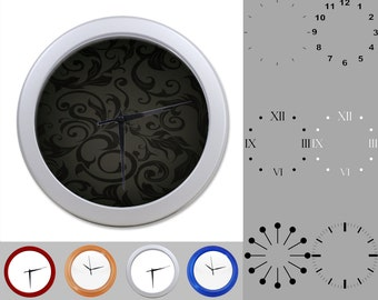 Blask Damask Wall Clock, Abstract Leafy Design, Dark Artistic, Customizable Clock, Round Wall Clock, Your Choice Clock Face or Clock Dial