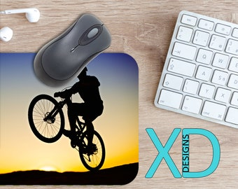 Biking Mouse Pad, Biking Mousepad, Bicycle Rectangle Mouse Pad, Black, Blue, Bicycle Circle Mouse Pad, Biking Mat, Computer, Mountain Bike