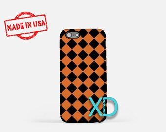 Halloween Phone Case, Halloween iPhone Case, Checkered iPhone 7 Case, Orange, Checkered iPhone 6 Case, Checkered Tough Case, Clear Case