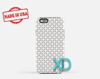 Gray Petal Phone Case, Gray Petal iPhone Case, Diamond iPhone 7 Case, Gray Petal iPhone 8 Case, Diamond Tough Case, Clear Case, X Pattern