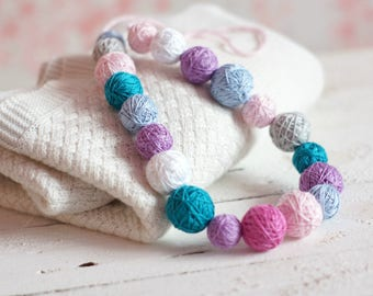 spring girls necklace balls thread cotton for women fiber natural summer colorful