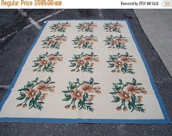 YEAR END CLEARANCE 1980s Handmade 6x9 Vintage Floral Needlepoint Aubusson-Style Rug (2854)