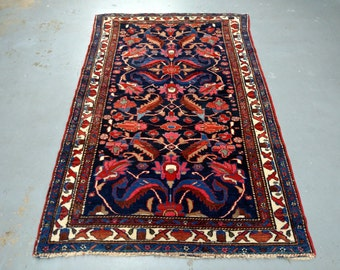 1940s Hand-Knotted Antique Hamadan Persian Rug (3527)