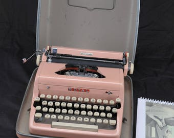 Refurbished 1957 Pink Royal PORTABLE Quiet Deluxe Typewriter W/ WARRANTY