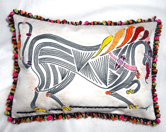 """BEADED MEDIEVAL HORSE Pillow, Stylized Rainbow Horse, 8""""x 11"""", My Original Painting Printed on Fabric, Beaded, Accent Pillow, Free Shipping"""