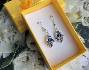 Hamsa Hand Beaded Evil Eye Earrings