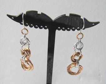 Bronze and silver mobius chainmaille earrings fashion jewellery handmade gift under 20 gift for her GBT266