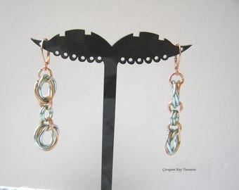 "Sea foam green and Bronze mobius chainmaille earrings 2"" fashion jewellery handmade gift under 20 gift for her GBT268"