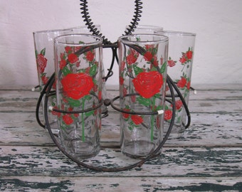 Ring around the Rosie// Set of 6// Rose Pattern Drinking Glasses