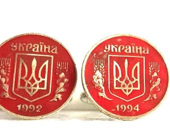 169: Ukraine 25 kopiyok coin CuffLinks (Red)