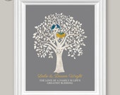 """Personalized Family Art Print, Birds, Nest, Watercolor Art Print with Family Quote, Family Wall Art Decor, 8"""" x 10"""" or 11"""" x 14"""" , Unframed"""