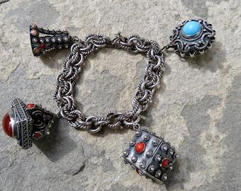 Vintage Etruscan Charm Bracelet, 800 Silver Charms, Italian Silver Jewelry, 800 Silver Charms, Peruzzi Style Small Size Charm Bracelet