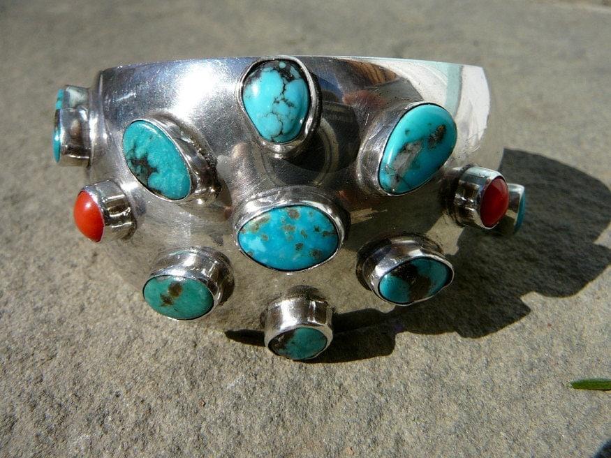 Red Coral Bracelet, Turquoise Bracelet