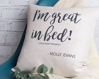 Personalised I'm Great in Bed Funny Quote Custom Made Pillow Cushion Cover Quality Linen Cotton