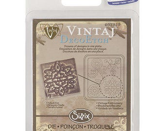 Sizzix DecoEtch Die 2.625'X2.375'-Vintage Embroidery By Vintaj