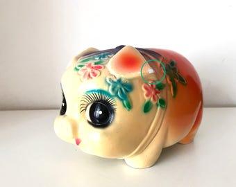 SALE- Vintage big eye pig ceramic figurines