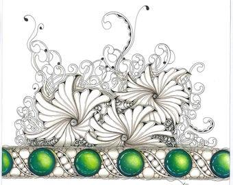 Zentangle Inspired Art - Glowing Green