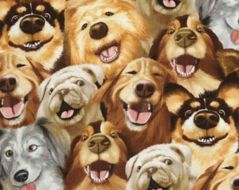 Dog Selfies - Selfie Squad - Timeless Treasures - C5314 - Dog Lovers Fabric - Humorous Dogs - Smiling Dog Fabric - Laughing Dogs