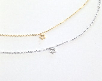 Tiny star necklace - Delicate necklace - Silver star necklace - Gold star - minimalist jewelry - Dainty star charm - Gift for her under 15ud