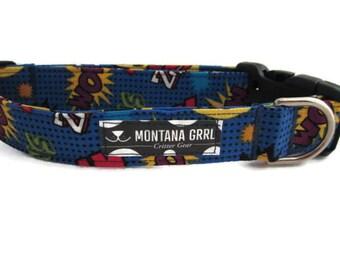 Dog Collar...Super Hero KAPOW, superman collar, blue dog collar, hero dog collar, boy dog collar, girl dog collar, batman