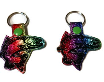 Rainbow Trout Key Fob Key Chain, fisherman gift - mom gift - easter basket stuffer- stocking stuffer- mothers day-fathers day