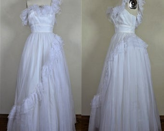 1960s Mike Benet One Shoulder Frilly & Frothy White Wedding Dress