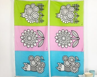 British Invasion Panel by Jane Foster for Cloud 9 Certified Organic Cotton/Linen Pink Green Blue Fabric Craft Fabric for Tea Towels Cats
