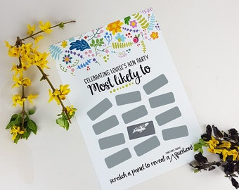 Cute 'Most Likely' Scratchie Game Print-Bachelorette Party Game-Hen Party Game-Gift for Bride-Team Bride-Game for Bridal Shower-Bridal