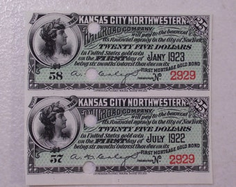 Pair of 1923 Kansas City Northwestern Railroad Company Bond Interest Coupons
