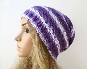 Cotton Slouchy Beanie Hat - Hand Knit Hat - Women Cotton Knit Hat - Purple White Slouch Beanie - Eco Friendly Beanie - ClickClackKnits