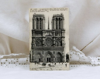 Antique French Black and White Postcard, Notre Dame de Paris, French Country Decor, Vintage, Parisian, Retro Interior, Provencal, Home,