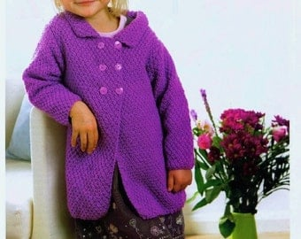 knitting pattern for girls coat size age 1 /4 years aran yarn  instand download