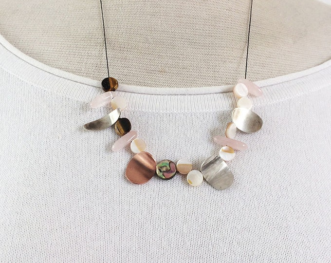 Asymmetric sterling silver necklace mix of real stones -mother of pearl - rose quartz - tiger eye stone