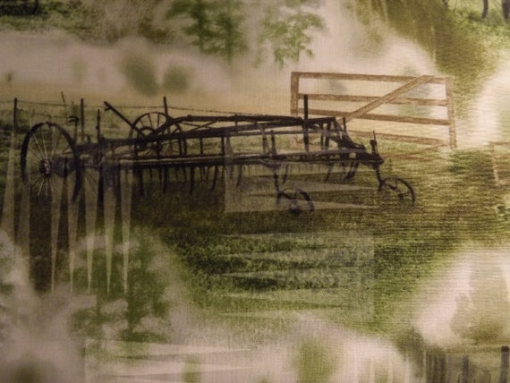 Timeless Treasures Reclaimed West Tractor Meadow cotton fabric BTY