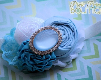 Bubble Bath - Headband, Baby Headband, Photography Prop, Couture Headband, Hair Clip, Shabby Chic Headband, Blue and White, Rolled Rosette