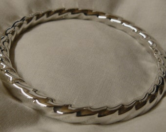 Solid Silver Twisted Bangle