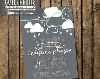 Clouds and Stars Baby Shower Invitation and Game Package