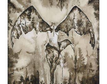 "Dark Angel Painting, Black and White Watercolor Angel Fine Art Print, Sepia Ink Dark Wings Illustration, Goth Artwork,  18x24,5 cm (7""x9,6"")"