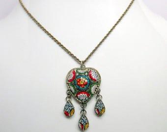 Vintage Antique Italian Micro Mosaic Lavalier Pendant Necklace   Grand Tour