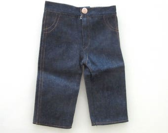 "Teddy Bear or Doll Jeans Dark Blue Denim Front Zipper Stitched Faux Pockets 12"" Waist For Build-A-Bear or Similar"