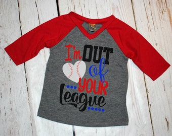 Baseball Sister Outfit, out of your League, baseball sister, baseball, girl baseball outfit, little sister, baseball fan, baseball tee