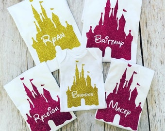 Disney Family Vacation Trip Mom Dad Gold Pink Glitter Princess Castle Personalized Name Tee T-Shirt Onesie
